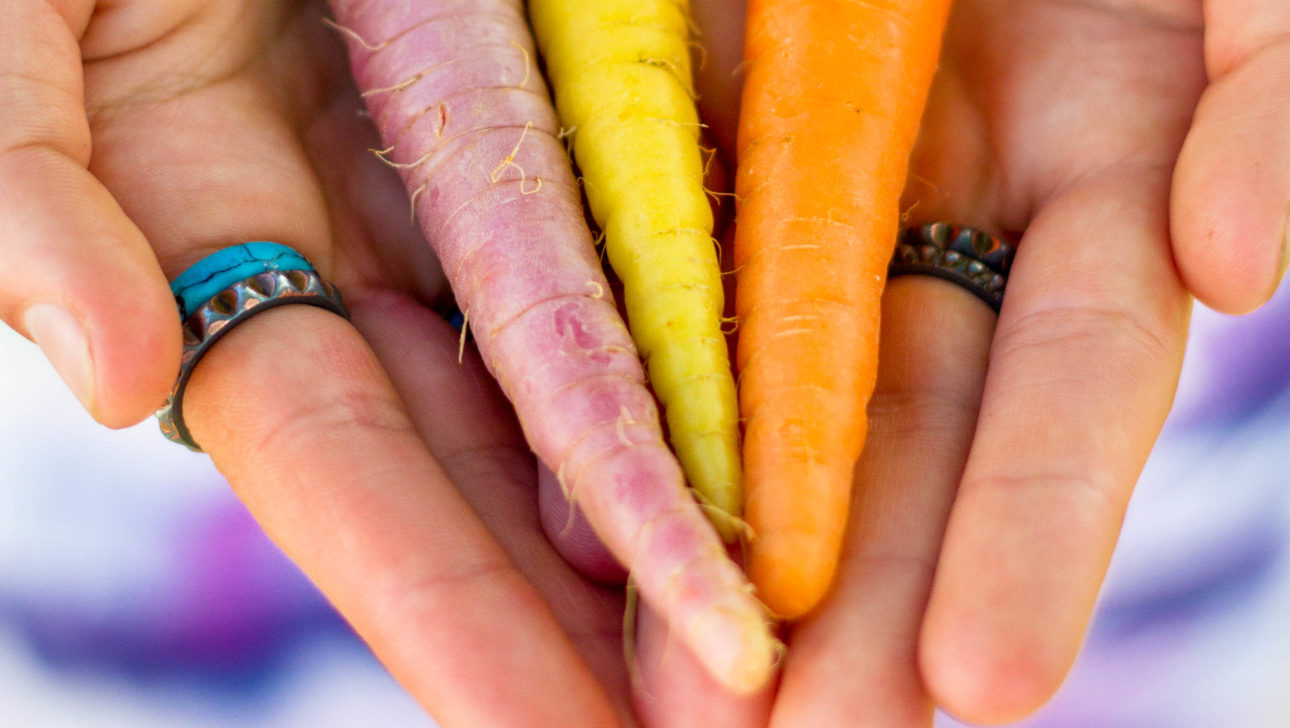 A person holding carrots.