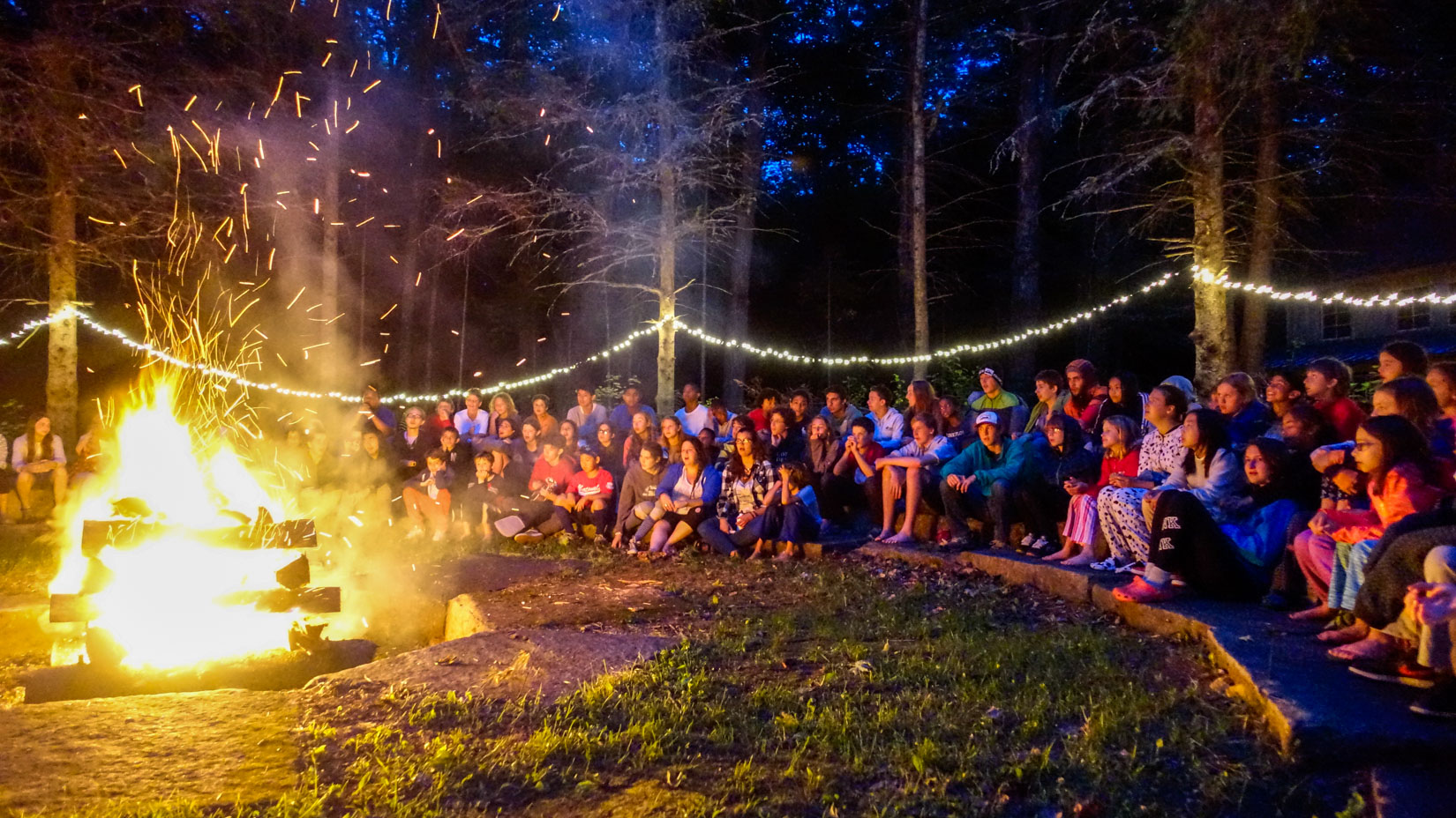Campers gathered around a campfire at night.