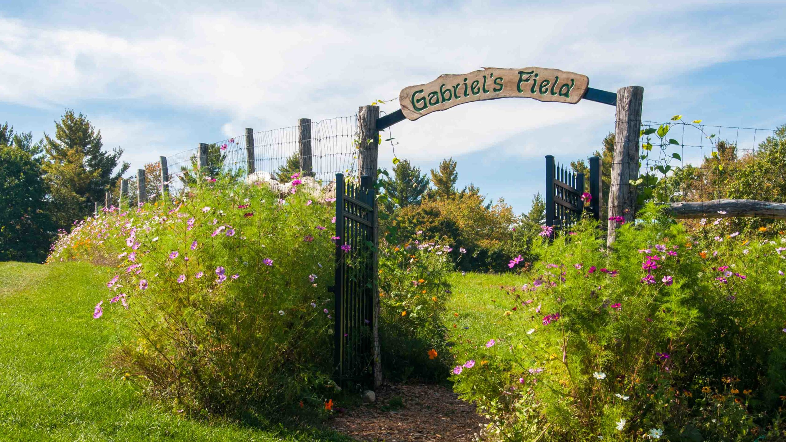 A view of the entrance to Gabriel's Field, a garden.