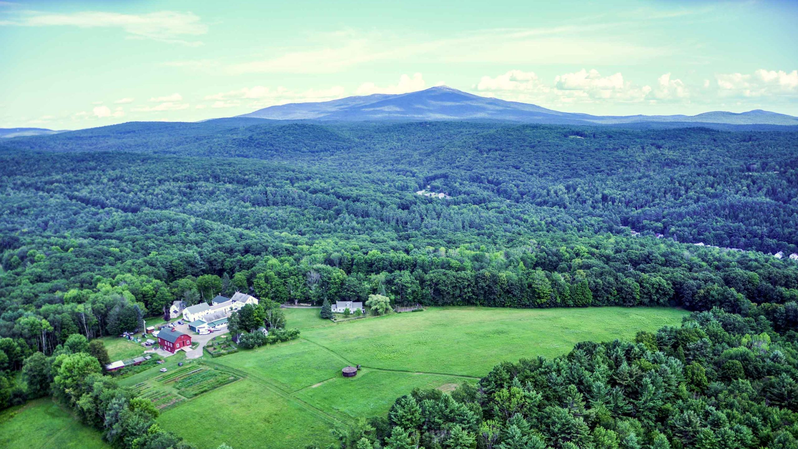 An aerial view of the Camp Glen Brook campus