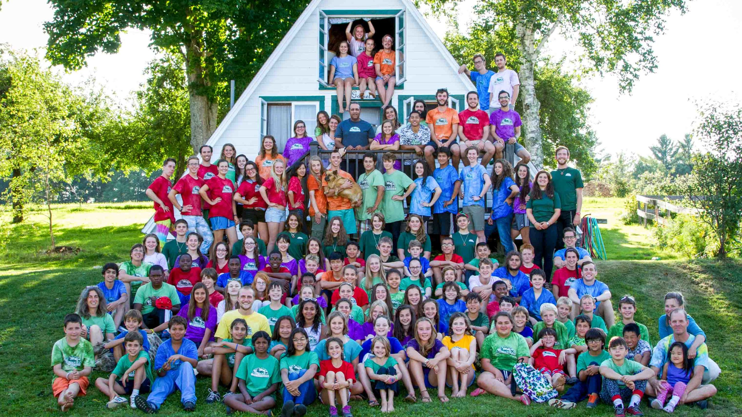 A large group of campers in a group photo.