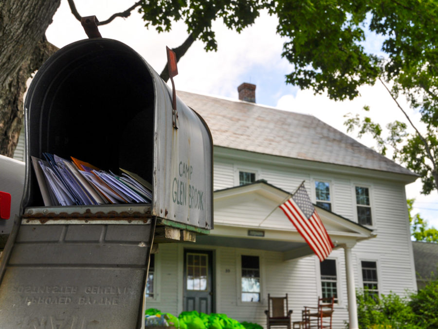 A view of the mailbox in front of the main building.