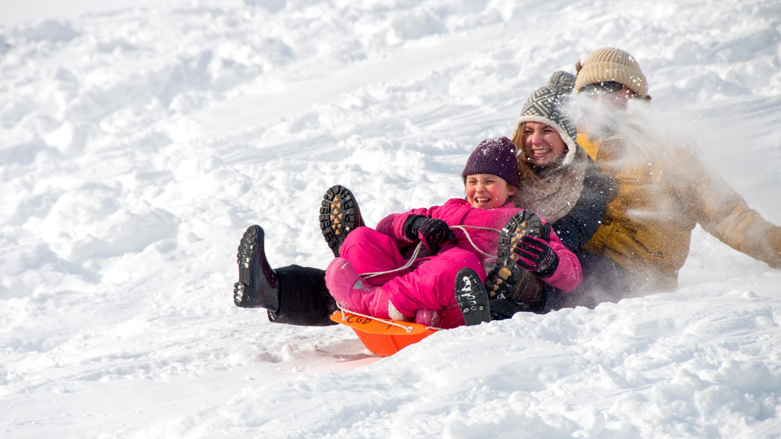Campers laughing while sledding down a hill.